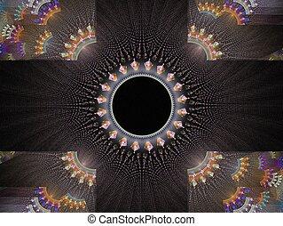 fractal, modello, astratto, sfondo nero