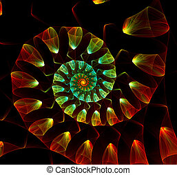 fractal, noir, spirale, résumé, arrière-plan., coquille, grand