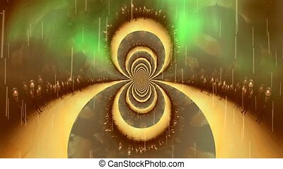 Fractal of parallel dimensions. Man with ideas