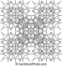 Fractal of rhombuses. Monochrome pattern of lines and...