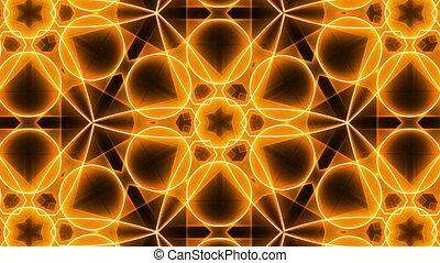 Fractal orange kaleidoscopic background. Seamless loop
