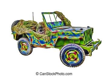fractal picture of world war 2 era jeep