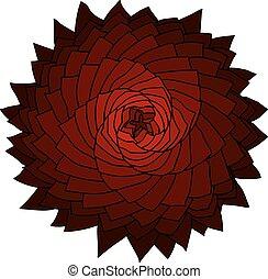 Fractal red flower. Vector rose. Abstract star design element.