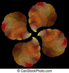 fractal, resumen, objeto, arte, hojas