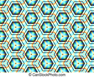 Fractal seamless vector assembled from hexagons bright colours