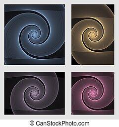 Fractal spiral page background design set