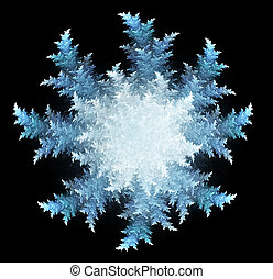 fractal three-dimensional a snowflake on a dark background -...