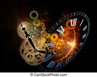 Fractal Time - Abstract interplay of clock symbols and...