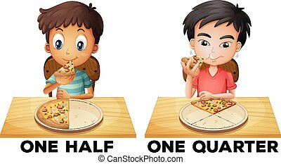 Fractions one half and one quarter illustration