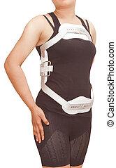fractura, espina dorsal, torácico, aislado, espalda, jewet,...