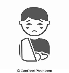 Fracture icon cartoon. Single sick icon from the big ill, disease simple.