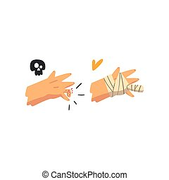 Fracture of the finger, hand plastered, physical injury, first aid and treatment vector Illustration on a white background