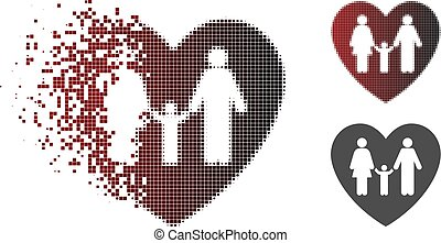 Fractured Dot Halftone Family Love Heart Icon