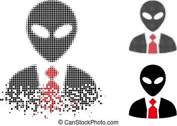 Fractured Dotted Halftone Alien Boss Icon