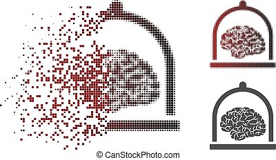 Fractured Dotted Halftone Brain Conservation Icon