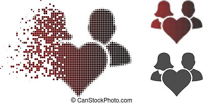 Fractured Dotted Halftone Family Love Heart Icon