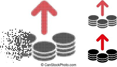 Fractured Dotted Halftone Payout Coins Icon - Payout coins...