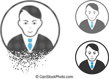 Fractured Dotted Halftone Rounded Gentleman Icon with Face...