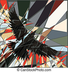Fractured flight - Abstract editable vector shattered design...