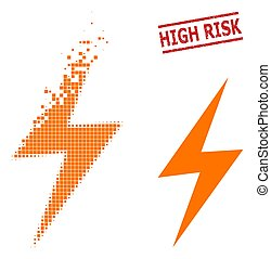 Fractured Pixel Electric Spark Icon and Scratched High Risk Stamp