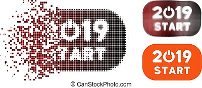 Fractured Pixel Halftone 2019 Start Button Icon - Vector...