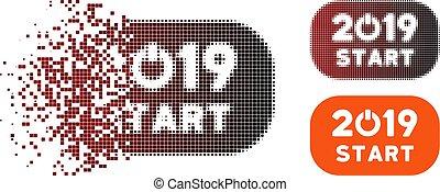 Fractured Pixel Halftone 2019 Start Button Icon