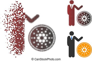 Fractured Pixel Halftone Businessman Show Cardano Coin Icon