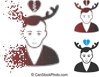 Fractured Pixel Halftone Deceived Horned Husband Icon -...