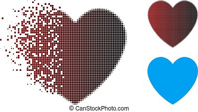 Fractured Pixel Halftone Love Heart Icon