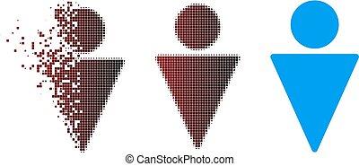 Fractured Pixel Halftone Man Icon