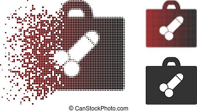 Fractured Pixel Halftone Sexual Toolbox Icon - Vector sexual...