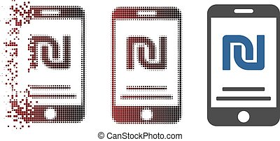 Fractured Pixel Halftone Shekel Mobile Payment Icon