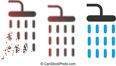 Fractured Pixel Halftone Shower Icon