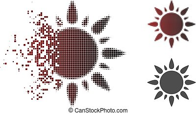 Fractured Pixel Halftone Sun Light Icon