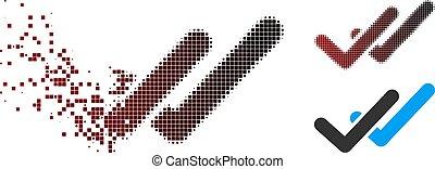 Fractured Pixel Halftone Validation Icon