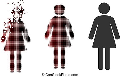 Fractured Pixel Halftone Woman Icon