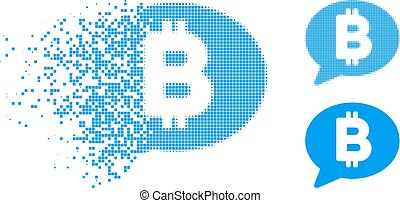 Fractured Pixelated Halftone Bitcoin Message Icon - Bitcoin ...