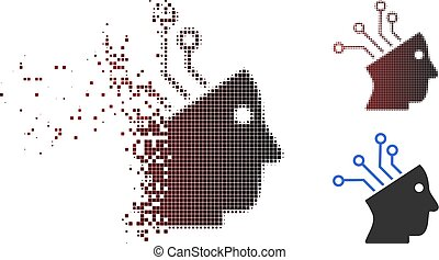 Fractured Pixelated Halftone Cyborg Brain Circuit Icon