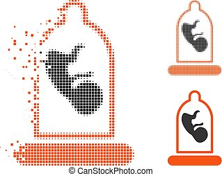 Fractured Pixelated Halftone Embryo Inside Condom Icon -...