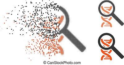 Fractured Pixelated Halftone Explore DNA Icon