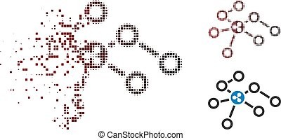 Fractured Pixelated Halftone Ripple Network Nodes Icon