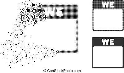 Fractured Pixelated Halftone Wednesday Calendar Page Icon -...