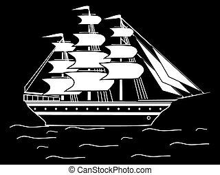 fragata, silueta, velejando, pretas, retro, branca, navio