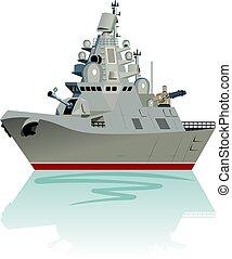 fragata, vector, militar, aislado, caricatura, white., ...