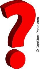 frage, freigestellt, markierung, hintergrund, weißes, 3d