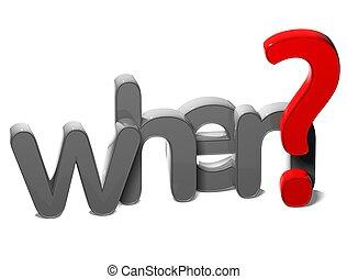 frage, hintergrund, wenn, 3d, wort, weißes