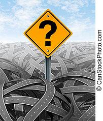 frage, strategie, markierung