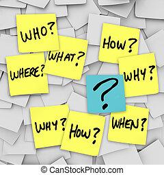 frage, verwirrung, -, klebrige notiz, fragen, markierung