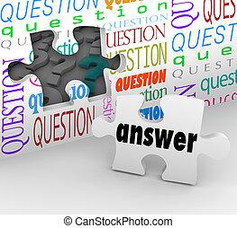 frage, wand, puzzleteil, antwort, vollständig, verständnis
