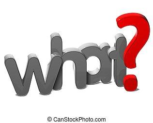 frage, was, hintergrund, 3d, wort, weißes